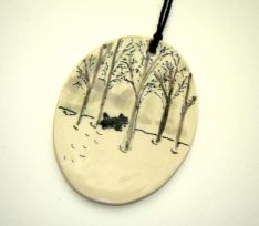 winter scene pottery